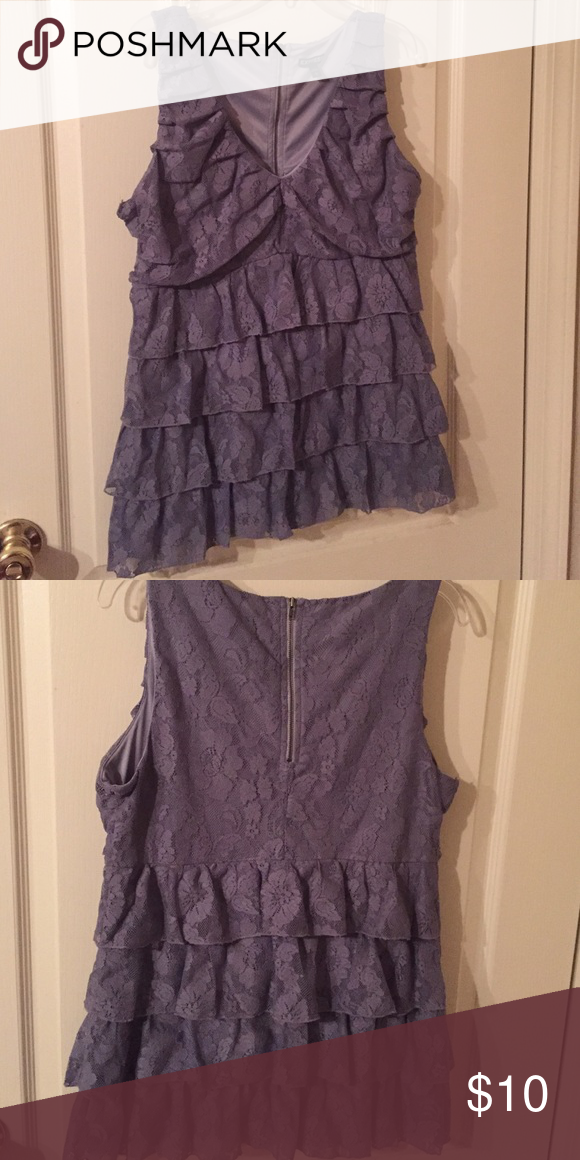 Blue lace top Blue lace top from Express. Low cut. very flattering. Size L Express Tops Tank Tops