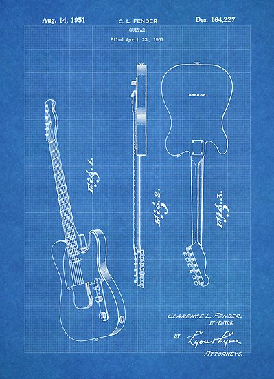 Fender Telecaster Guitar Us Patent Art Blueprint In 2019