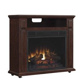 Duraflame 31.5-in W 5200-BTU Cherry Wood and Wood Veneer Infrared Quartz Electric Fireplace with Thermostat with Remote Control