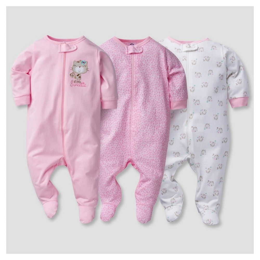 a09716f3e Baby Girls  3pk Zip Front Sleep N  Play Kitty - Gerber