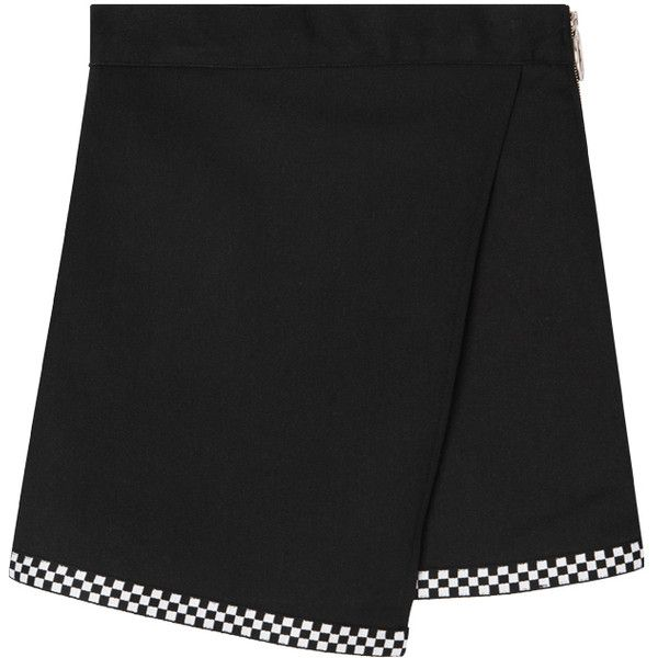 Check Hem Panel Faux Wrap Mini Skirt (€170) ❤ liked on Polyvore featuring skirts, mini skirts, bottoms, checkered mini skirt, panel skirt, faux wrap skirt, checked skirt and mini skirt
