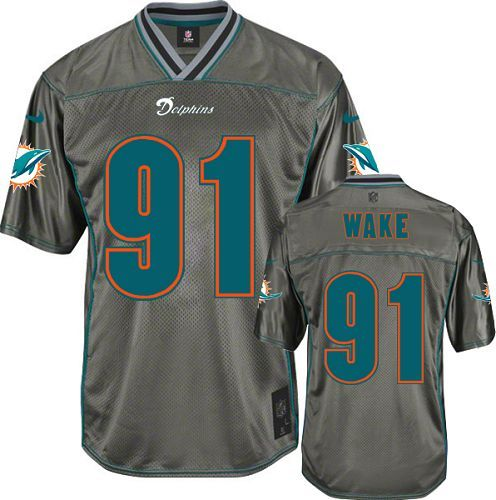 4cde3add Men's Nike Miami Dolphins #91 Cameron Wake Game Grey Vapor NFL ...