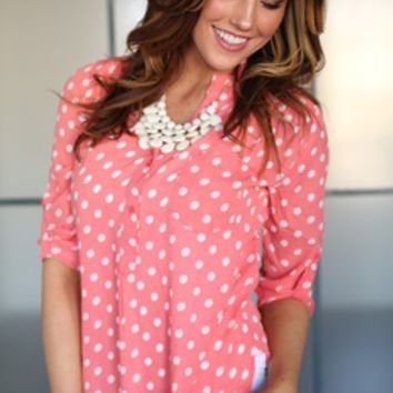 Dancing with Spots Chiffon Top Coral