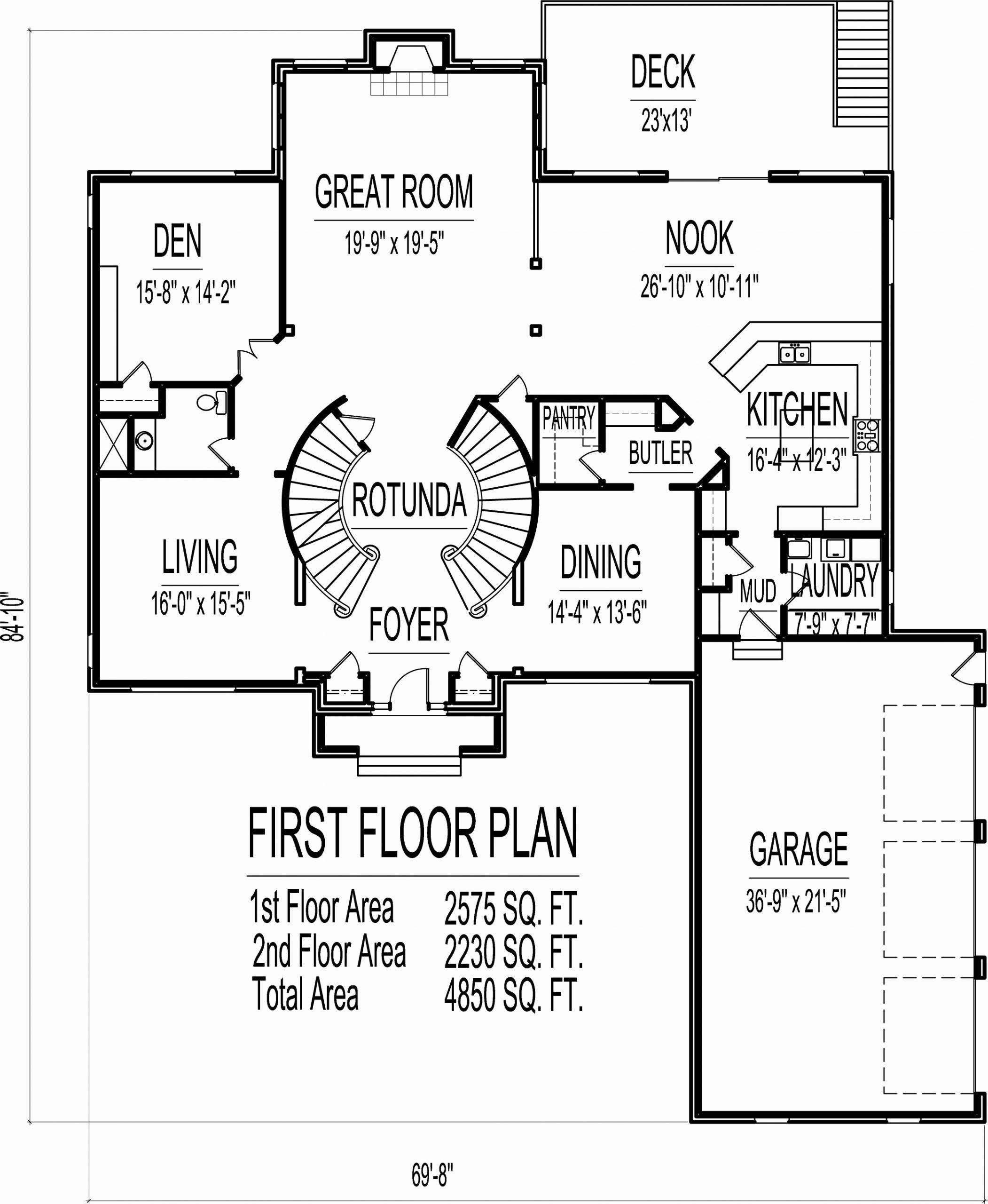 10000 Sq Ft House Plans Unique 4500 Square Foot House Floor Plans 5 Bedroom 2 Story Double In 2020 House Floor Plans House Plans Bungalow House Floor Plans