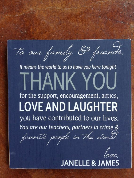 To Our Family And Friends Thank You Personalized Wedding Reception Real Wood