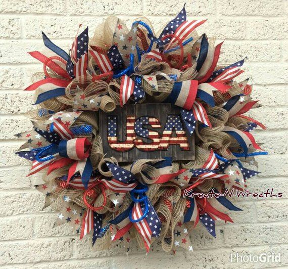 Photo of Spring Patriotic 4th July Summer Front door Wreath Independence Day Wreath Door Wreath Red White Blue Wreath Grapevine Wreath Memorial Day