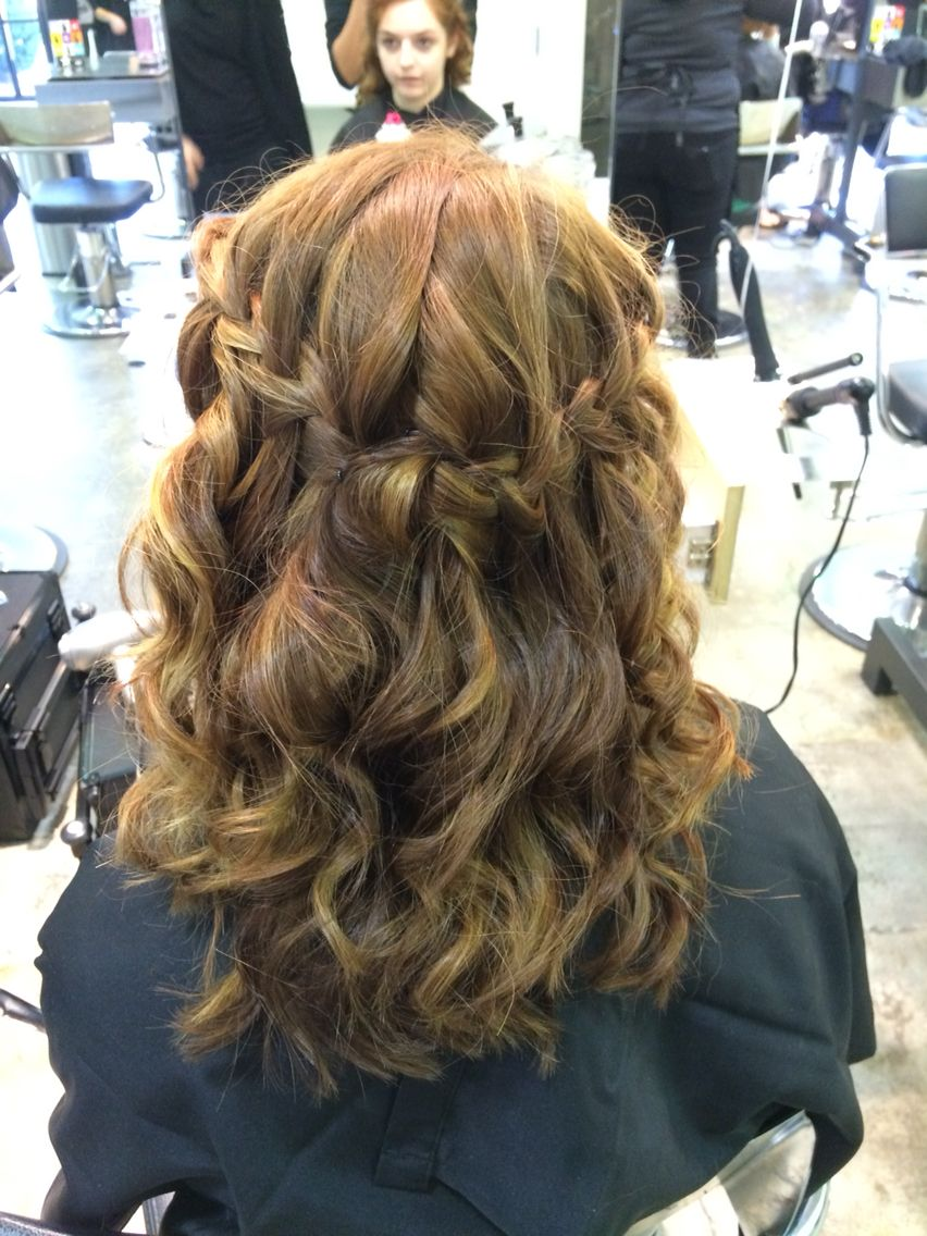 Homecoming updo waterfall braid curls hair Paul Mitchell Esani