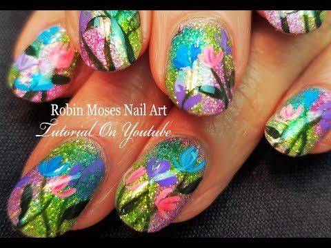 Ombre Holo Glitter With Flowers Nails Easy Nail Art Design