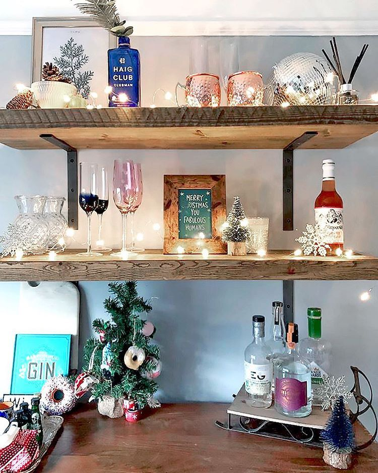 Christmas Bar Shelves Home Bar Gin Bar Shelves Bar Cart Decor Fairy Lights Gin Bar
