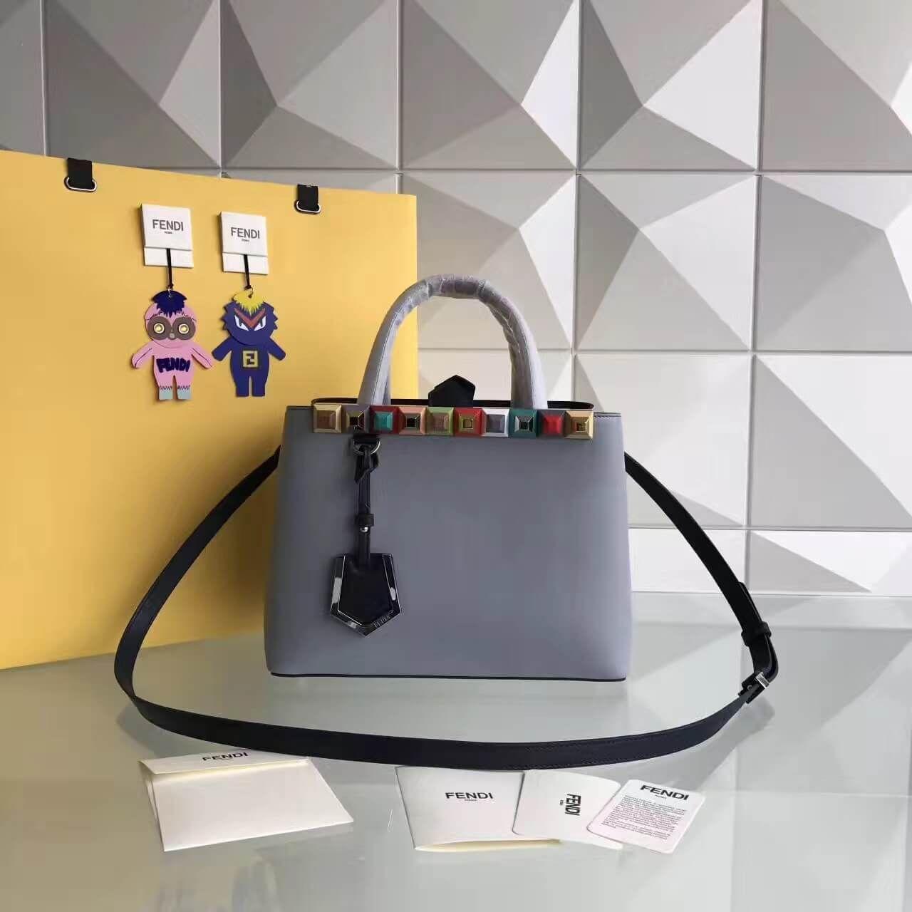 912d217d6ccb Fendi Calfskin 2Jours Bag With Multicoloured Studs Light Blue 2017 ...