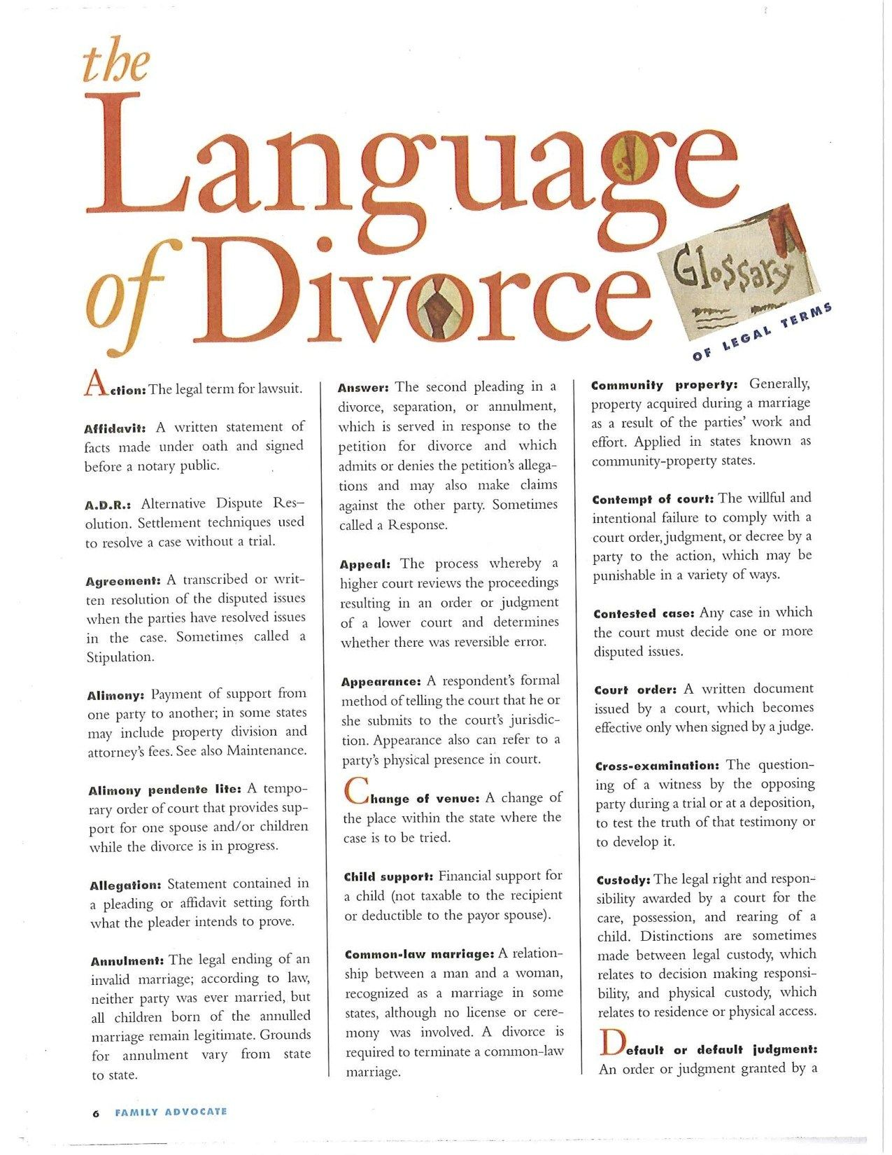 Legal Divorce Terms You Need to Know. A Handy Guide. - Round and Round Rosie