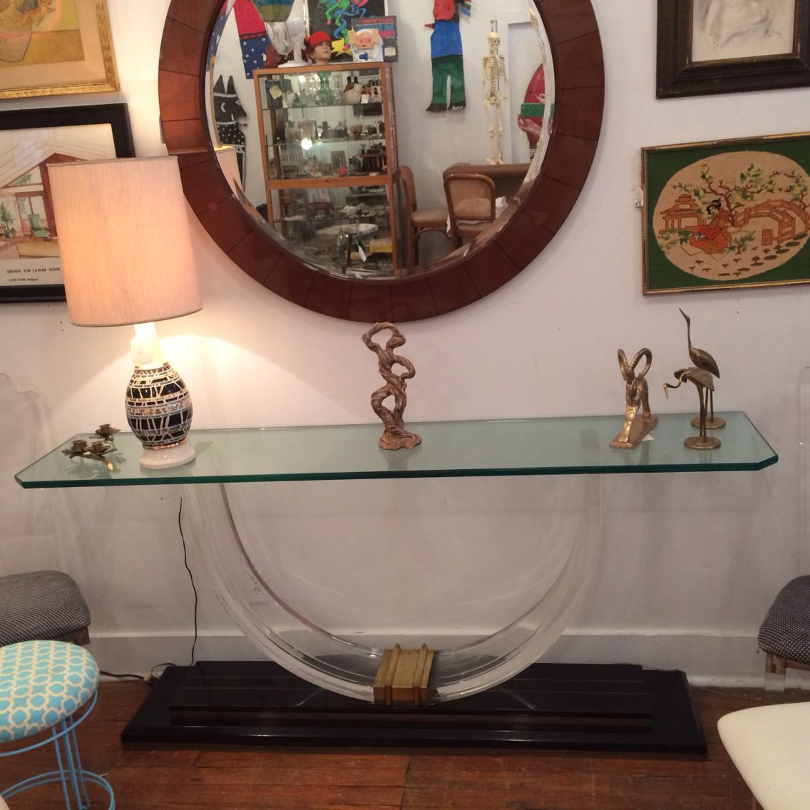 French Art Deco style Lucite, brass and glass console table.   Available in Atlanta, Georgia.