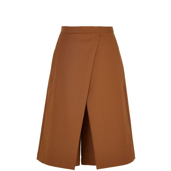 Tibi City Stretch Flat Front Culottes (7,510 PHP) ❤ liked on Polyvore featuring skirts, shorts, brown skirt, brown pleated skirt, culottes skirt, pocket skirt and knee length pleated skirt