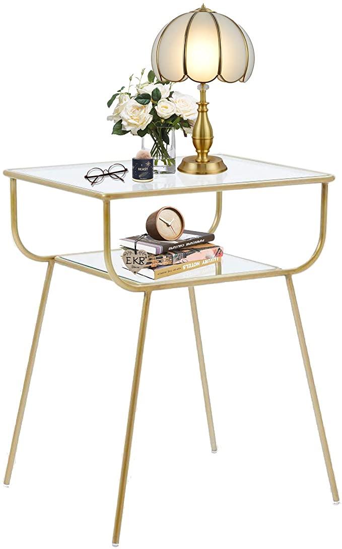 Amazonsmile Ekr Bedside Table Night Stands Side Table Tempered Glass Top For Bedrooms Living In 2021 Modern Side Table Bedroom Modern Night Table Glass Bedside Table