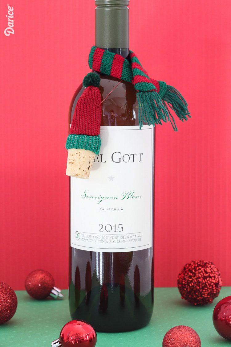 Diy Wine Bottle Gift Idea Knit Hat Scarf Darice Crafts Wine Bottle Gift Wine Bottle Diy Wine Bottle
