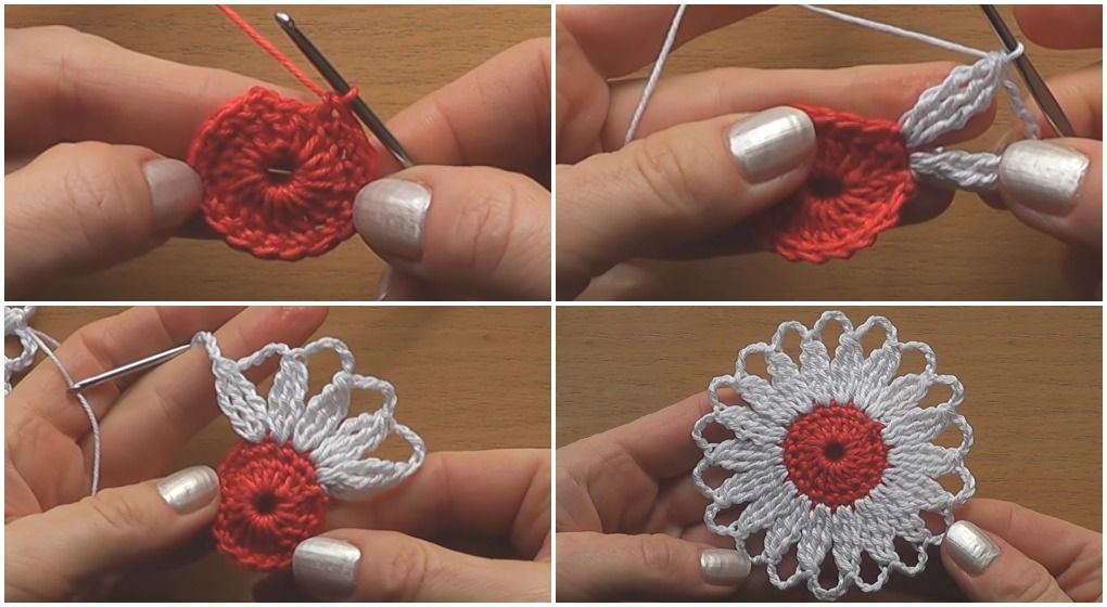 Crochet Flower Motif Step by Step - Tutorial | DIY | Pinterest ...