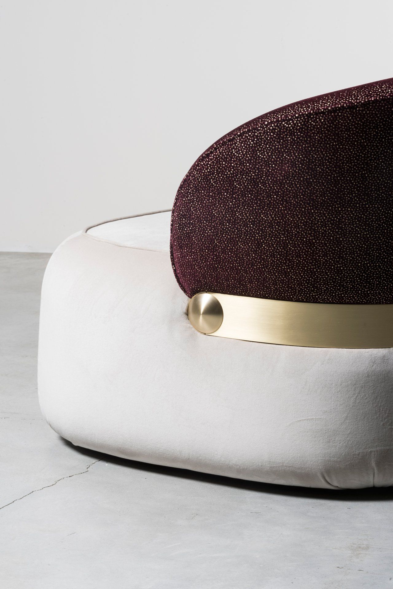 Visiera sofa detail by Cristina Celestino for Nilufar gallery