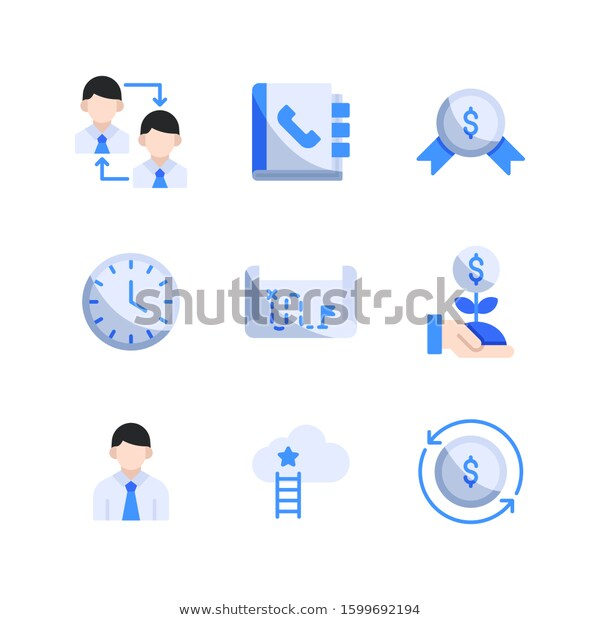 Business Strategy Icon Set Collaboration Phone Stock Vector Royalty Free 1599692194 Icon Set Business Strategy Icon