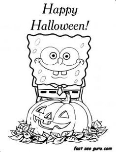 printable happy halloween spongebob coloring in pages printable coloring pages for kids - Coloring Pages Spongebob Halloween