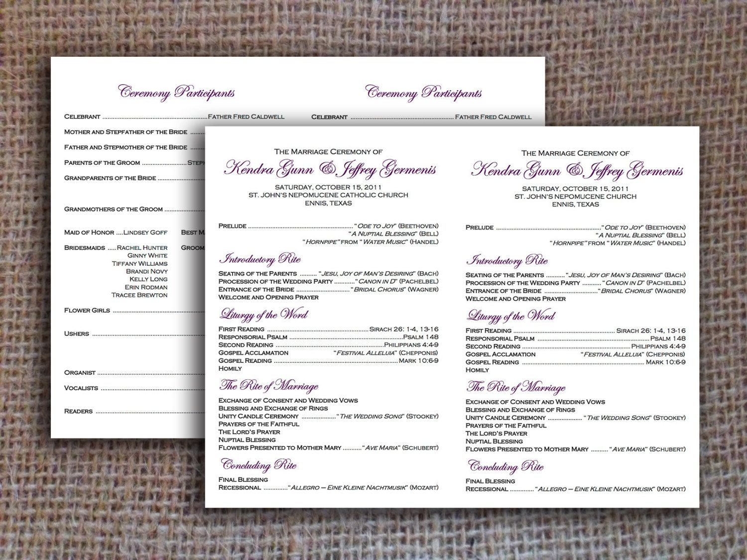 Catholic Wedding Program Flat Digital File 2 Per Page INSTANT DOWNLOAD By