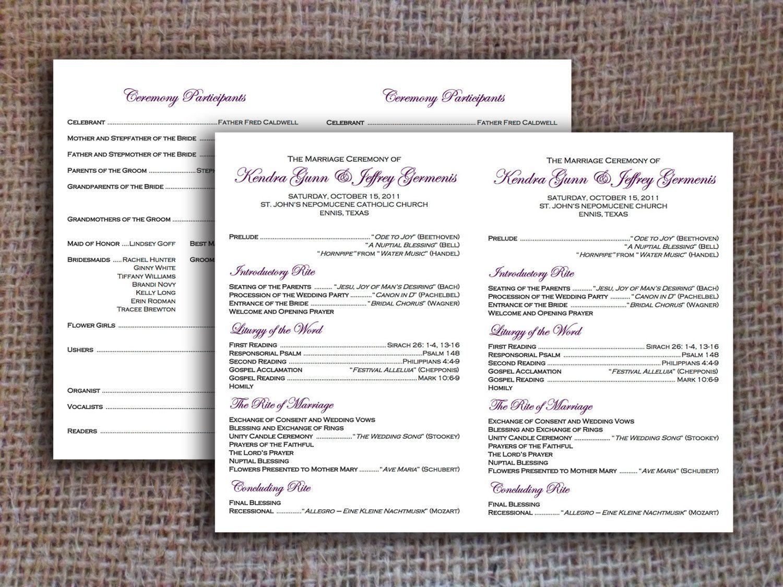 Flat Catholic Program Template Wedding Instant