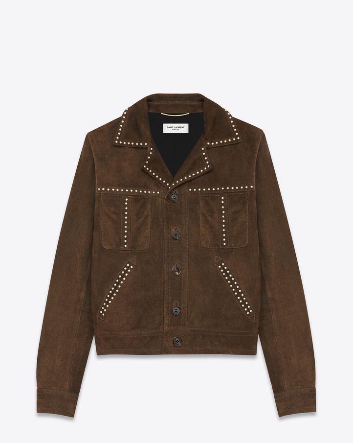 Saint Laurent Studded Jacket In Brown Suede Ysl Com Studded Jacket Jackets Goose Clothes