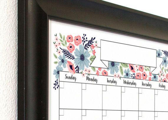 Hand drawn floral calendar horizontal calendar wall calendar family planner poster size calendar