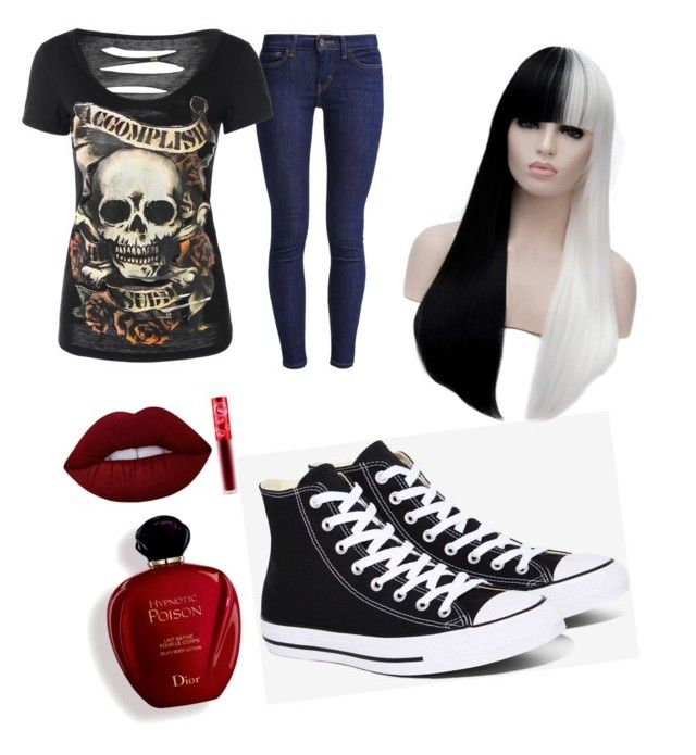 """Halloween casual"" by gamzee-fan ❤ liked on Polyvore featuring Levi's, Converse, Satine and Lime Crime"