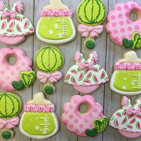 Watermelon Baby Shower Decorated Sugar Cookies