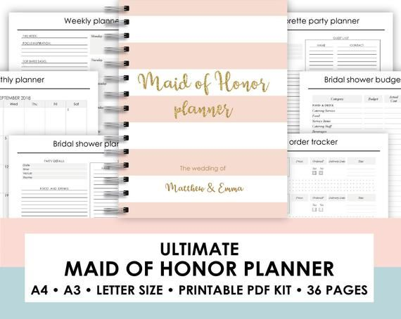 photo relating to Maid of Honor Printable Planner identify maid of honor planner printable, Maid of Honor Planner