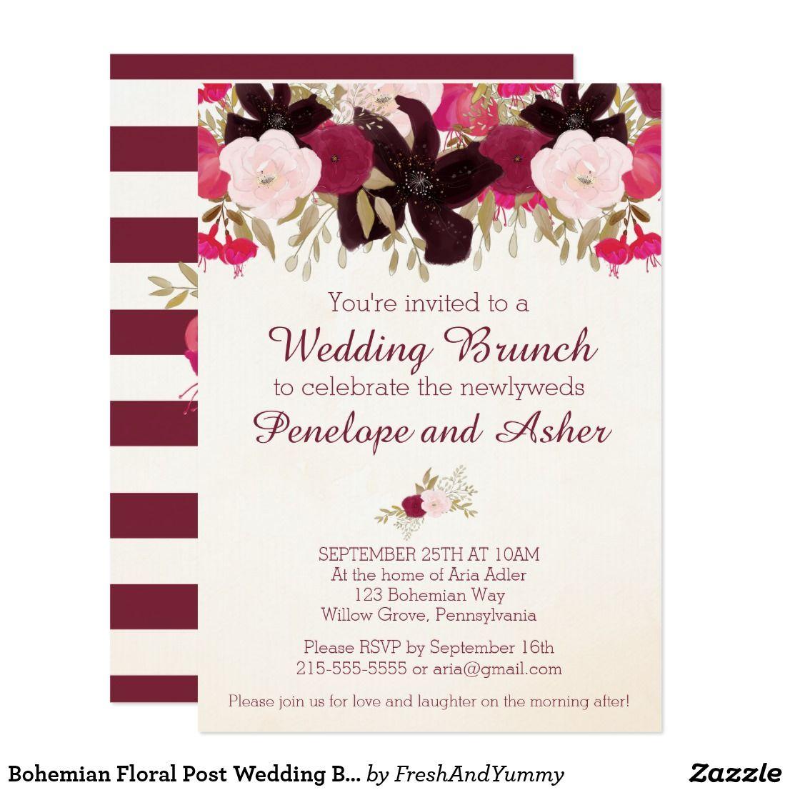 Bohemian Floral Post Wedding Brunch Invitation | Brunch invitations ...