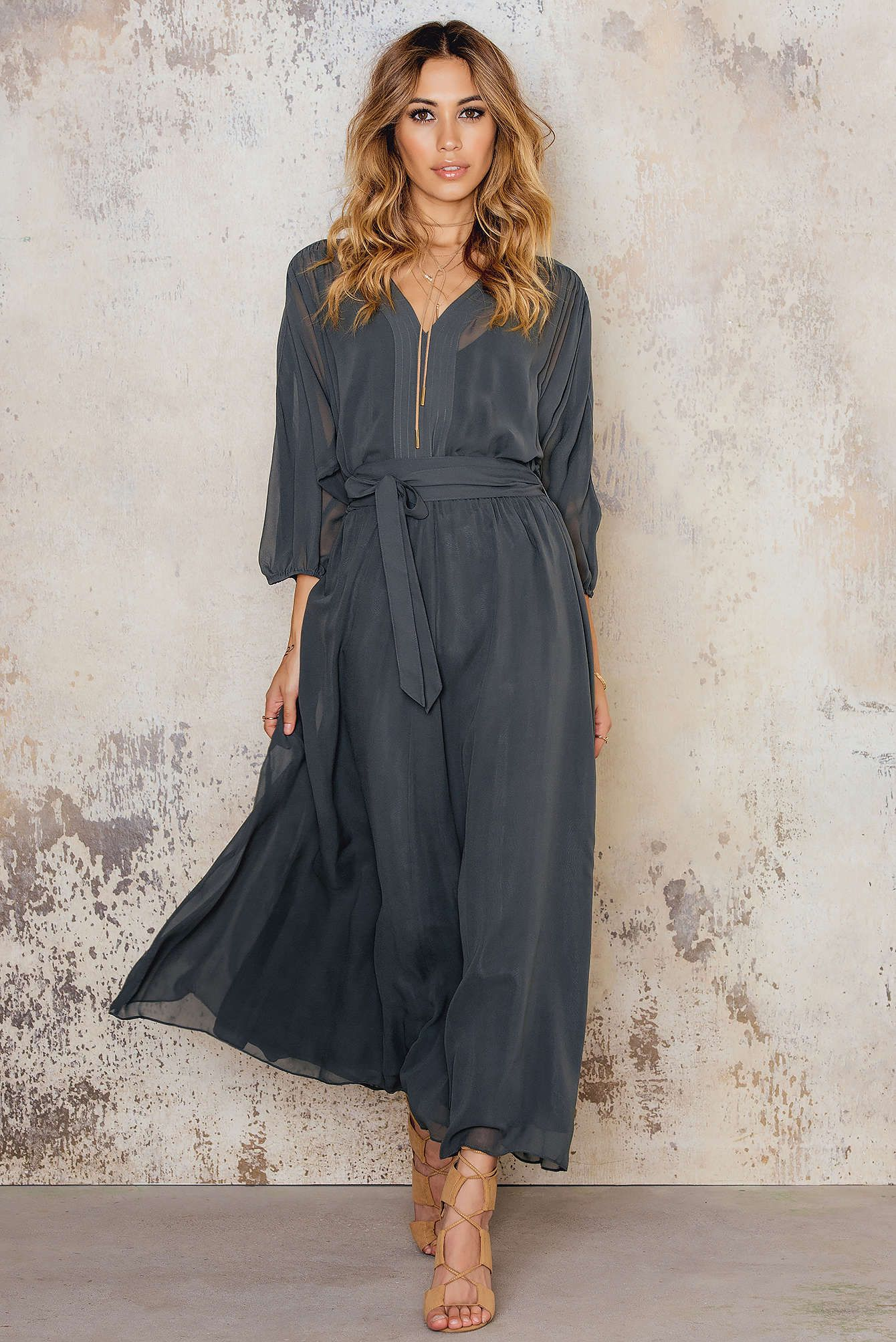 Get ready and feel the flow with this love! Silk Chiffon Belt Dress by Filippa K comes in Palmtree and features 3/4 sleeve, dramatic ankle long skirt and removable belt. For the perfect look match it with flat sandals