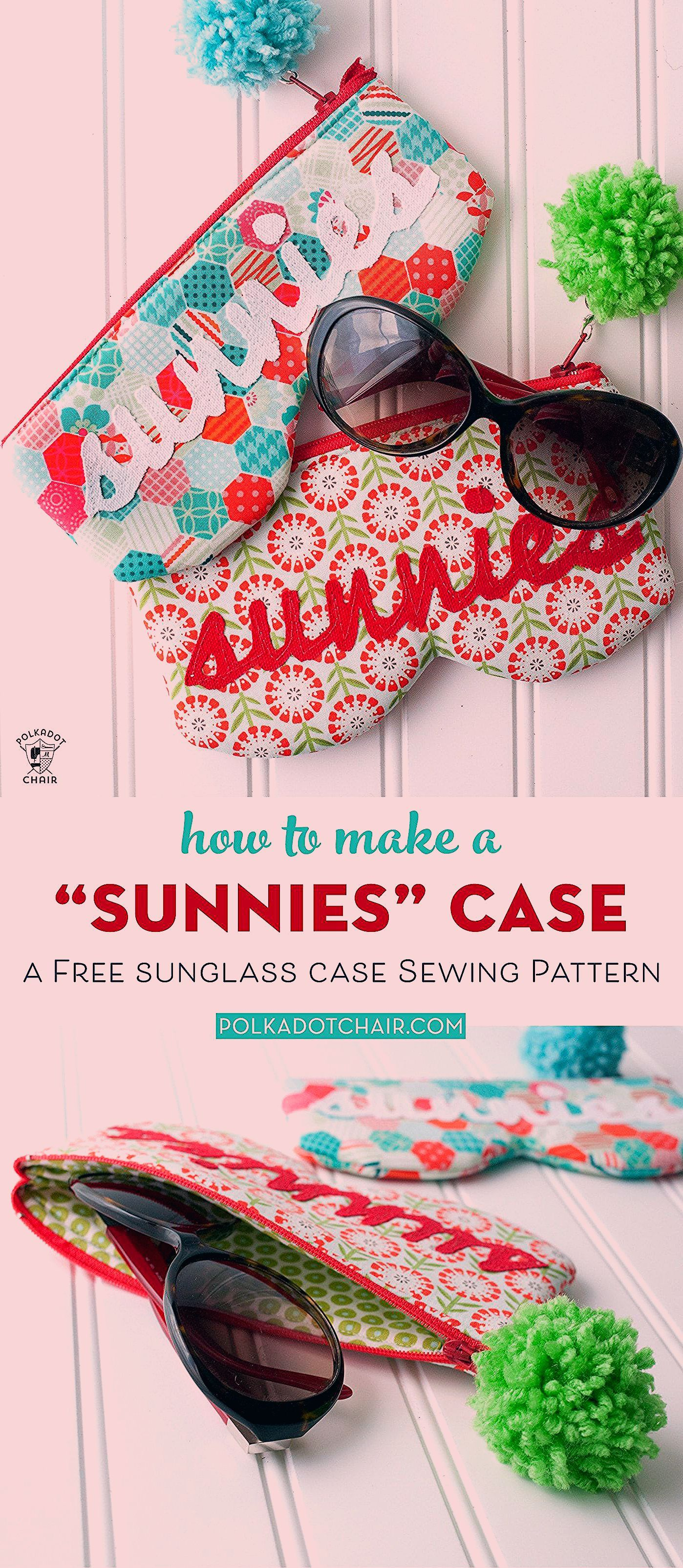 A free sewing pattern for a Sunnies Sunglasses Case How to make a sunglass case a simple sewing pattern and small sewing project
