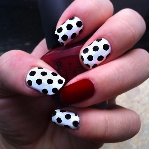 Black And White Matte Nailswhite Red Nail Art Designs Trendy Mods Egqtlfl