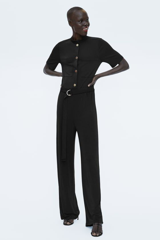 7a614af15722 ZARA - SALE - FLOWY JUMPSUIT WITH BUTTONS Jumpsuits For Women