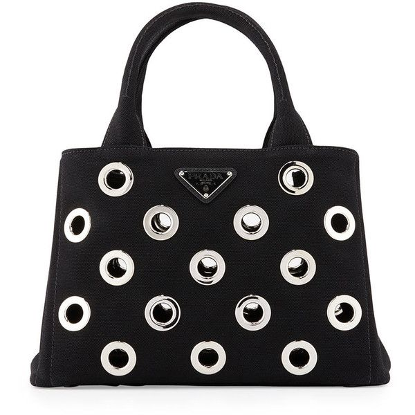 24c6853e9f6ffb Prada Canapa Grommet Small Garden Tote Bag (2,400 BAM) ❤ liked on Polyvore  featuring bags, handbags, tote bags, prada, handbags tote bags, logo tote  bags, ...