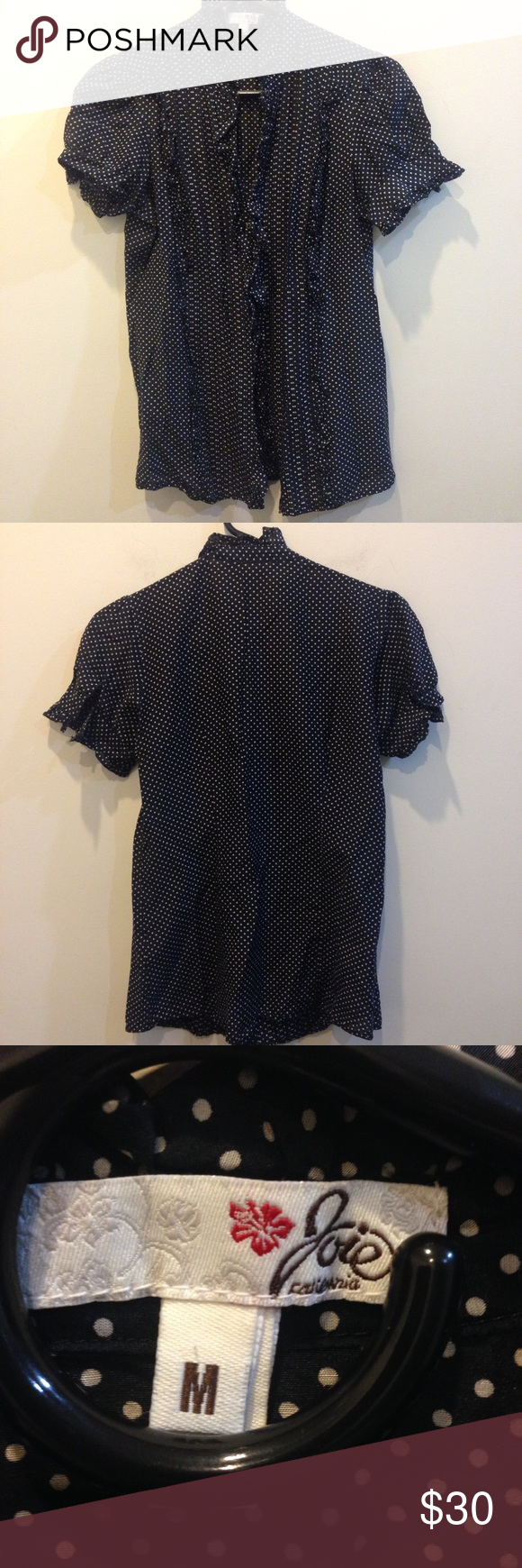 Joie Polka Dot Silk Blend Button Down Shirt Joie California top with a black and white polka dot pattern and has buttons down the center. Buttons on either sleeves hems. Silk blend and is a size medium. Joie Tops Button Down Shirts