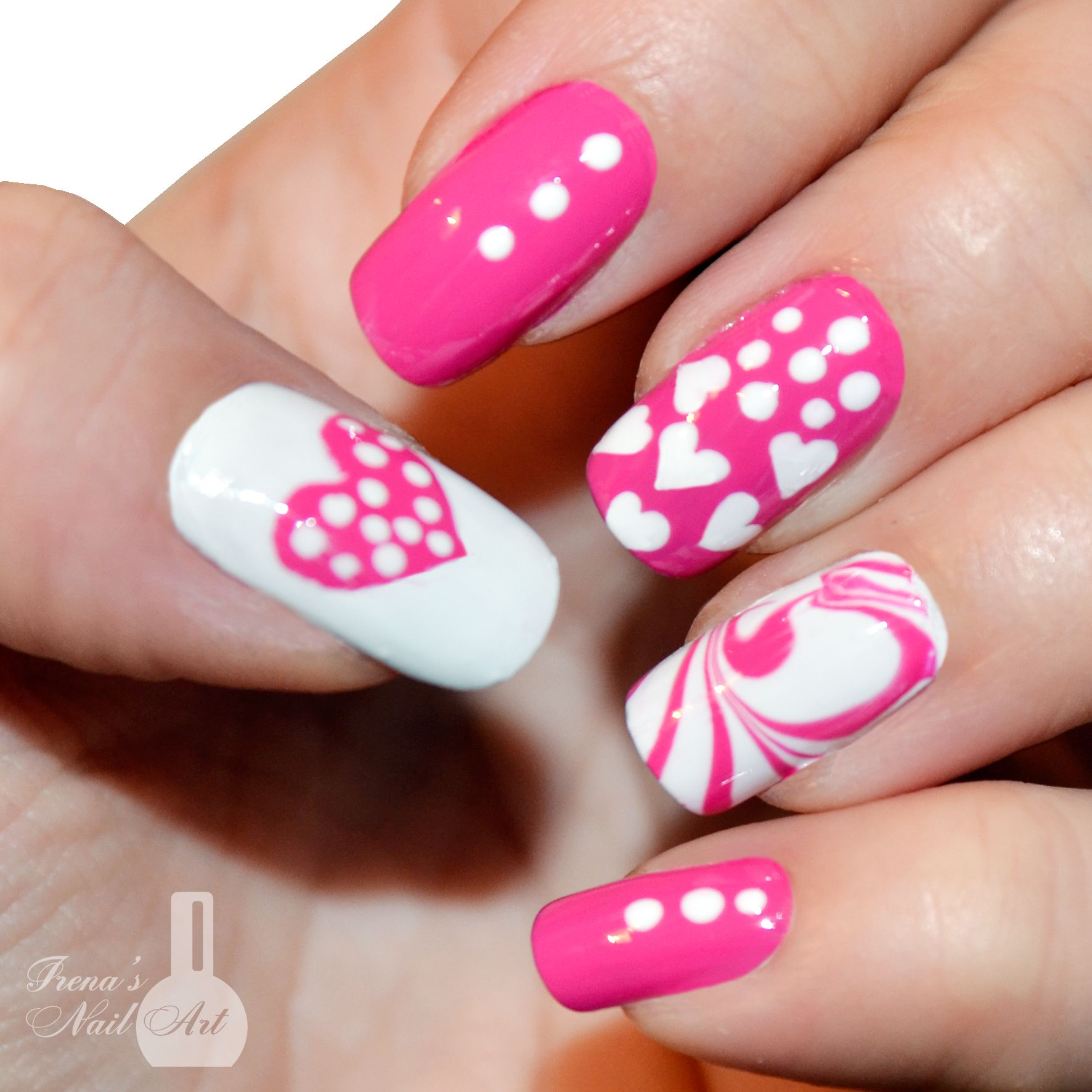 DIY Valentine\'s Day Pink Heart! Without any Tools - Nail Art ...