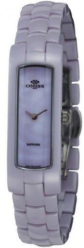 Oniss #ON8045-L Women's Ceramica Amor Collection Petite Purple Ceramic Watch Oniss. $129.95. Case Size:  15mm x 41mm, 8mm Thickness. High Tec Ceramic Case and Band, Butterfly Spring Clasp. Sapphire Crystal, Silver Tone Hands, MOP Dial. Precise Swiss Quartz Movement. Water Resistant - 30M. Save 69%!