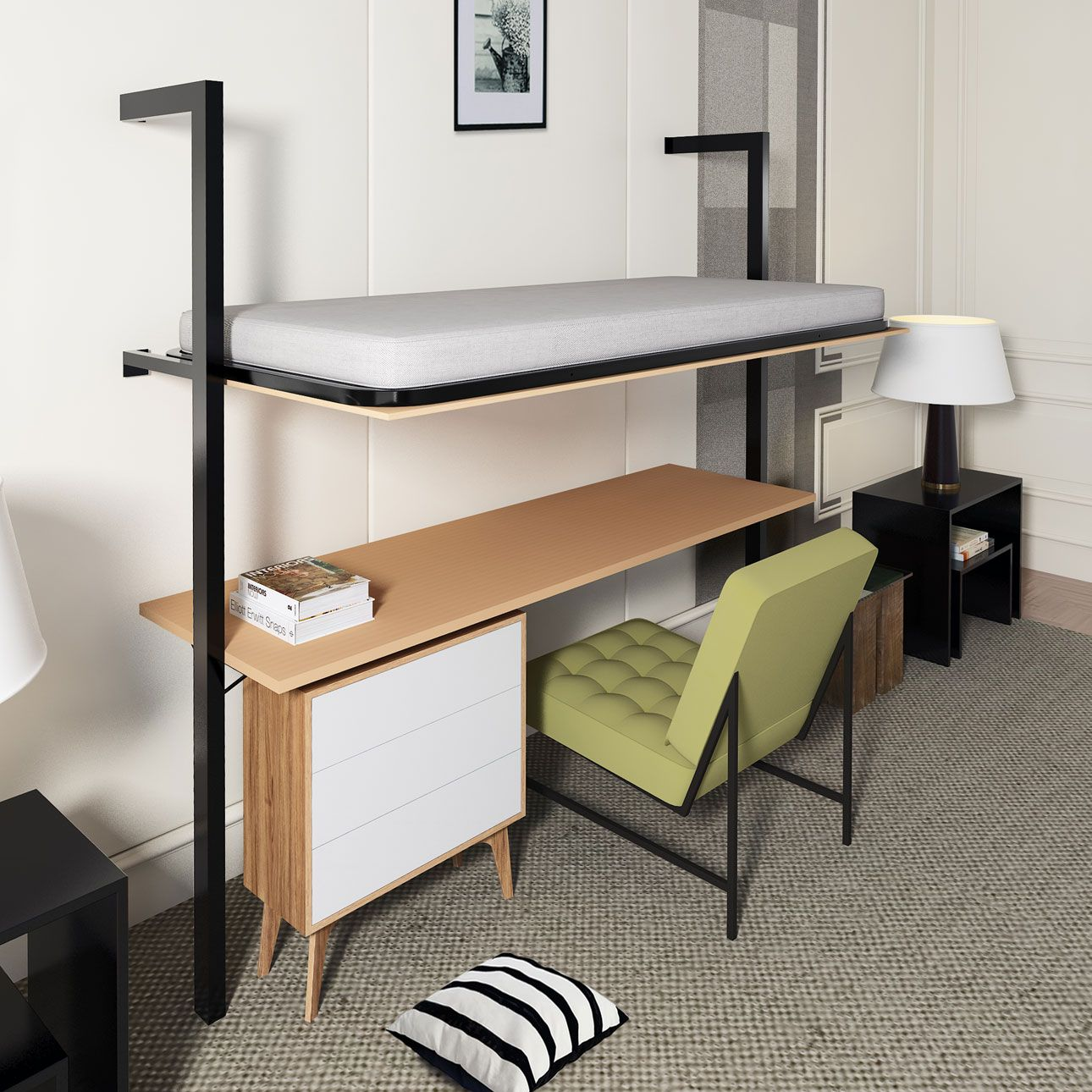 Olyan Horizontal Wall Upper Bed with desk Bed desk