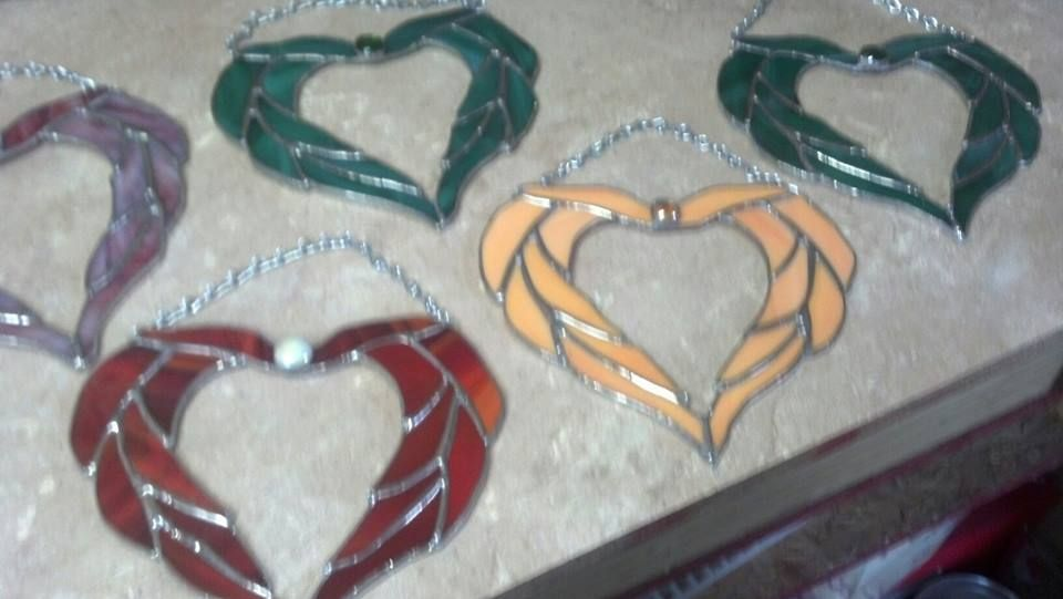 these hearts are very popular. easy to make custom colors STAINED GLASS HEARTS visit my facebook page....DEB'S STAINED GLASS WORKSHOP~HAPPY PLACE