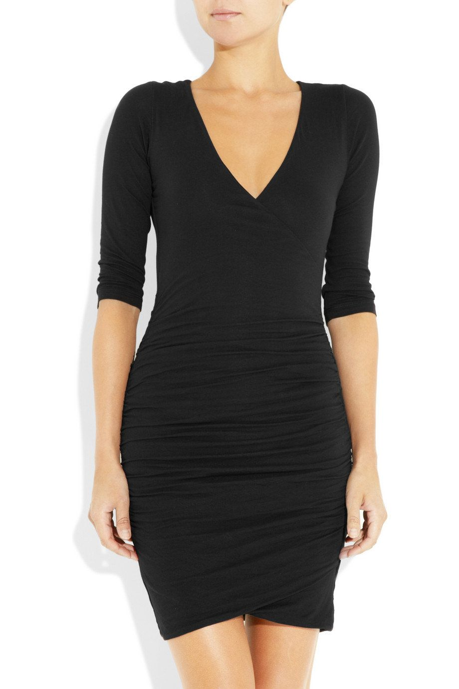 Stretch black wrap dressthree quarterlong sleeves shirred jersey