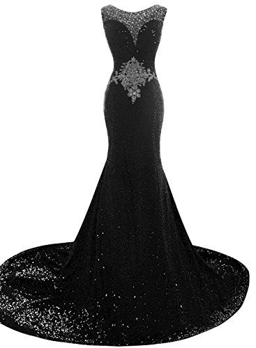 JudyBridal Women Sequins Beaded Evening Dress Mermaid Prom Gowns with train US12 Black