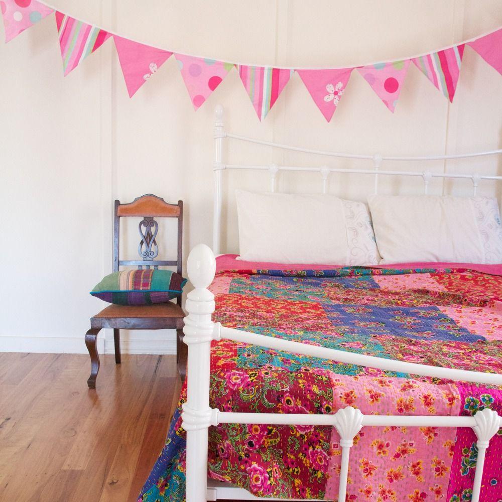 Kantha Patchwork Floral Quilt