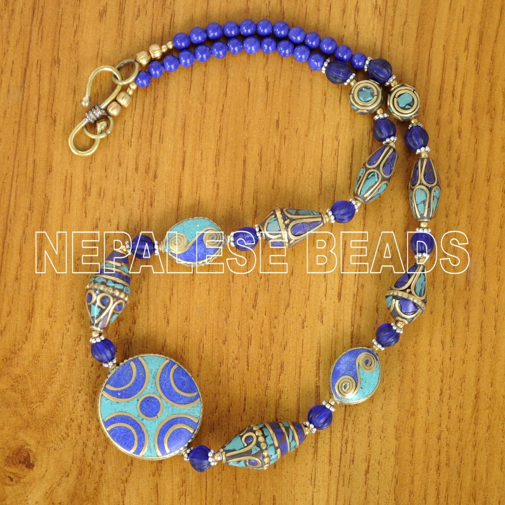 Diy297 nepalese tibetan turquoise lapis brass do it yourself diy297 nepalese tibetan turquoise lapis brass do it yourself necklace diy kits solutioingenieria Image collections