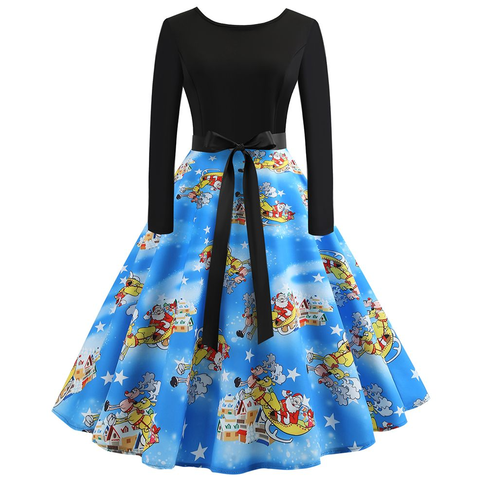 Product?Information:???????Style:?vintage?Dress?length:?knee-length?dress???Dress?type:?flare?dress???Collar?type:?round?neck?Sleeve?length:?long?sleeve??Waist?type:?mid?waist????Clothes?closure:?pullover?Popular?element:?piecing,?Christmas?printing?Fabric?name:?cotton?blend?Main?fabric?composition:?polyester?fiber?(polyester)????Content?of?main?fabric?composition:?71%-81%???Color:?JY12598??Size:?S,M,L,XL,2XL?Product?Features:?????????This?Christmas?vintage?flare?dress?made?of?high-grade?fabric?