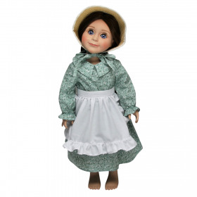 Little House Green Calico Dress for 18 Dolls, Clothing and Accessories For 18 Girl Dolls