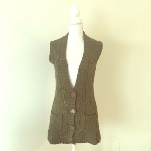 Olive sweater vest Cute Olive sweater vest. Longer and looks cute ...
