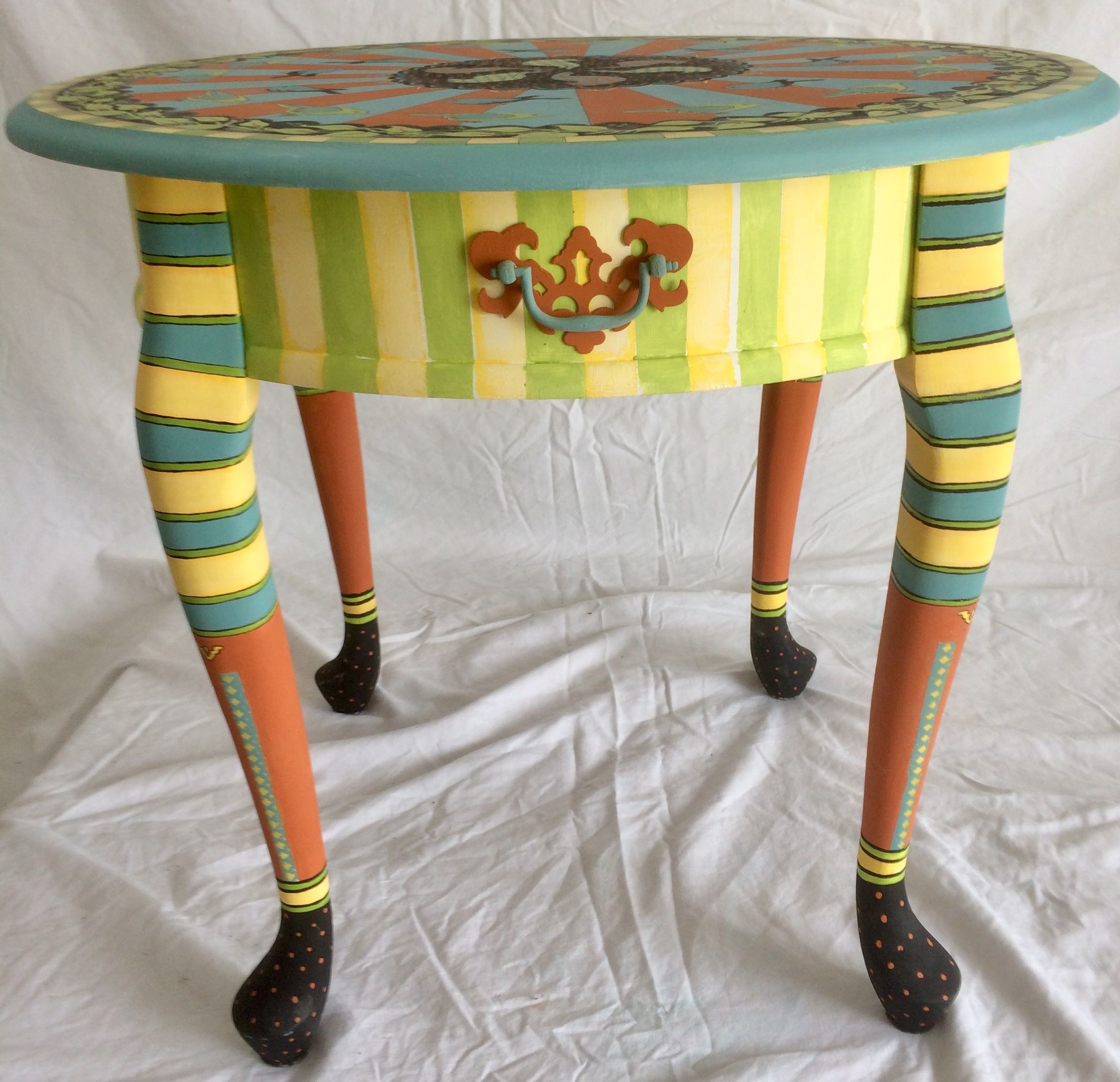 Hand Painted Accent Table Available At Curiousartco Whimsical Painted Furniture Whimsical Furniture Painted Furniture