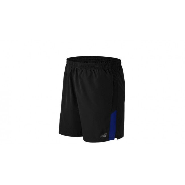 New Balance Accelerate 7 Inch Shorts Adults Black/Blue Material: 100% Polyester  7 inch inseam  Athletic fit  Contrast color mesh insets  Drawcord at waistband for adjustable fit
